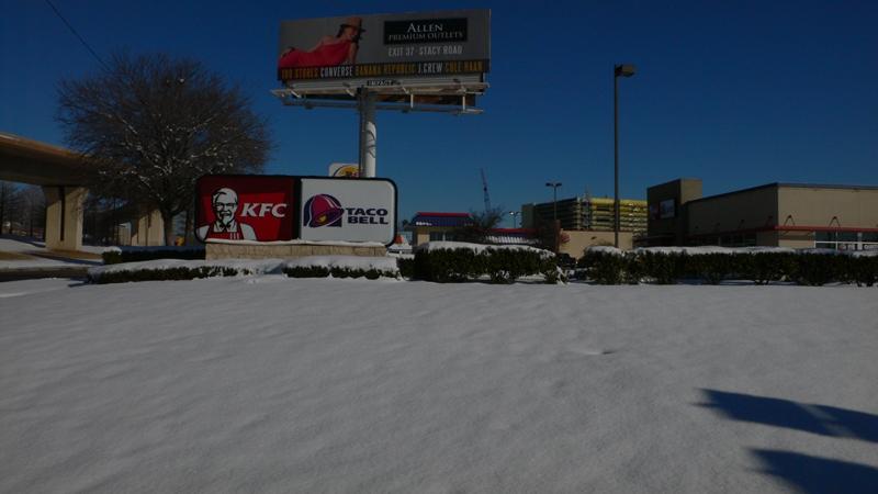 ダラスでは珍しい雪景色