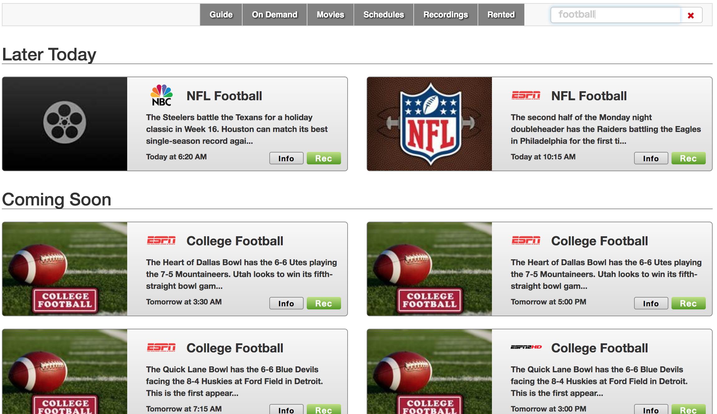USTV NOWのキーワード検索結果画面